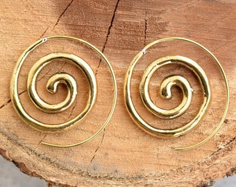 Brass Earrings - Brass Spiral Earrings - Gypsy Earrings - Spiral Jewelry - Brass Jewelry - Tribal Jewelry - Native Jewery -lotus earring 15