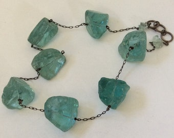 "Funky Chunky Turquoise Quartz ""Rock""  Necklace"