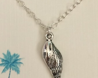 Silver Spiral Seashell Necklace
