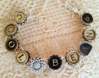 Cool Beans Typewriter Key Bracelet, Silver Bracelet, Antique Black and White Typewriter Keys, Gray Resin Flower, Upcycled Cool Beans Jewelry