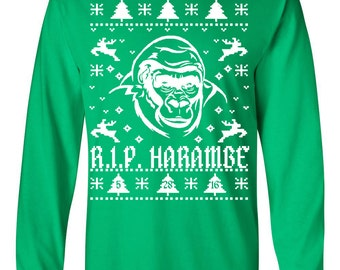 Rest in Peace Harambe Ugly Christmas Sweater Long Sleeve TEE Shirt 1551