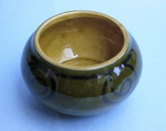 Small hand made, hand decorated Brixham pottery vase  with classic Brixham swirl design