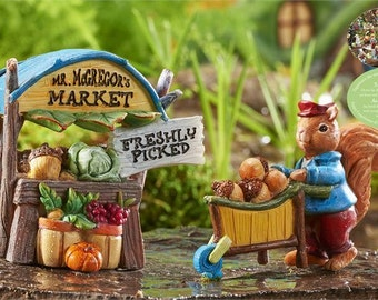Forest Friends Vegetable Stand And Squirrel With Cart