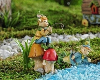 Fairy Garden  - Enchanted Forest Fishing Pixie - Miniature