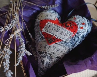Gothic Valentine's heart. Hanging handmade heart ornament. Give Love! Gift for Him/Her.