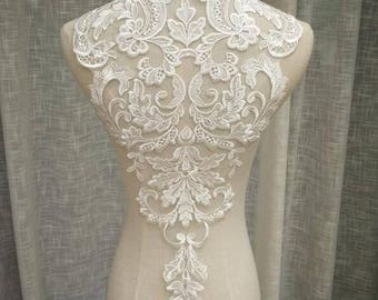 1pc Cream White  Lace Super Luxury Lace Appliques Exquisite For Wedding Dress Grown Bridal Veil