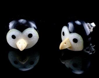 "Hand Carved- ""Penguin Moji"" - Horn with Bone and Crocodile Wood Inlay Stud Earring - Zoo Moji"