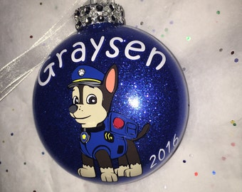 Personalized Chase Paw Patrol Christmas Ornament
