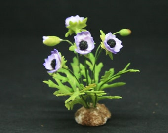 OOAK Lilac Poppy ~ Dolls House Miniatures ~ 12th Scale ~ Cold Porcelain Flowers