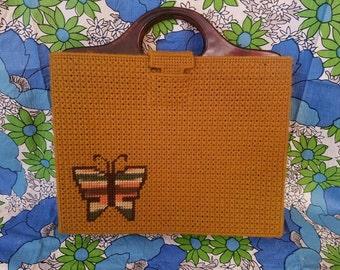 Vintage Plastic Canvas Needlepoint Purse Tote Handbag Butterfly