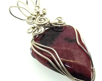 Rhodonite Gemstone Wire Wrapped Pendant Design 2