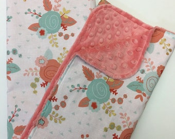 Girls Floral Baby Girls Blanket, Lovey, Minky Blanket, Nursery Bedding, Coral, Mint, and Gold Metalic, Coral Minky Dot