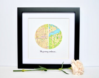 Retirement Gift, Retirement Party, Relocating Gift, Moving Gift, Goodbye Gift, The Journey Continues, Personalized Map Print, Framed Map