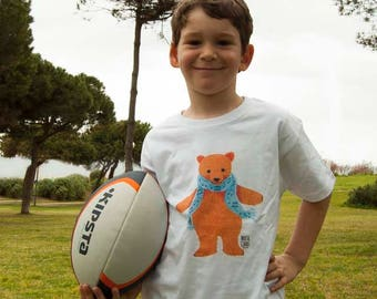 T-shirt with front, exclusive Marta Comas Illustration illustration Teddy bear, for boy and girl.