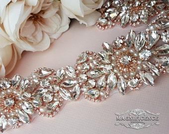 Rose gold belt, bridal belt, rose gold sash belt, wide bridal sash, blush bridal belt, wedding belt, bridal sash, rose gold bridal, MABEL