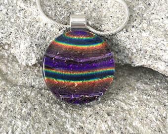 Purple, Glass Pendant, Gold, Dichroic Glass, Copper, Necklace, Fused Glass, Glass Slide, Jewelry, Pendant 232