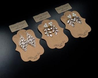 Boho Silver Plated Leaf Earrings - Bridal Filigree Earrings - Gifts for Her - Bridesmaid Gifts - Gift for Girlfriend - Dangle Earrings