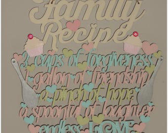 Family Recipe Hanging Wooden Plaque