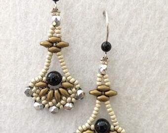 Egyptian Goddess Black Pearl Silver Crystal Vintage Antique Inspired Earrings