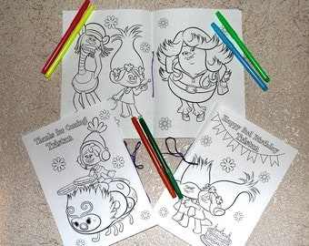 Trolls Birthday Party coloring pages, activity book, PDF file