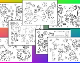Trolls coloring pages, Trolls Birthday Party Favor, Instant Download, PDF file