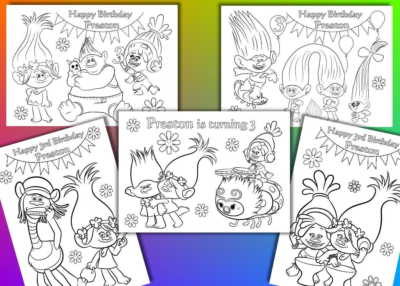 Trolls coloring pages Trolls Birthday Party favor PDF file