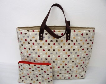 Tote bag fancy fabric small hearts