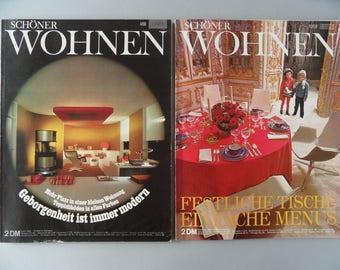 Set of 2 vintage Schöner Wohnen interior decorating magazine German April / December 1968 space age mid century modern design furniture