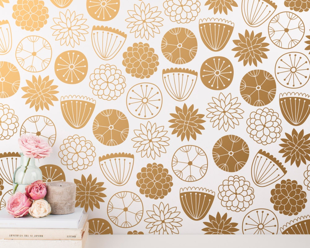 Flower Wall Decals Modern Vinyl Decal Set Nursery Decals