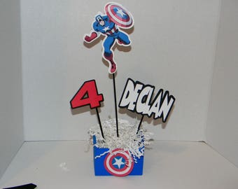 Captian America  Centerpieces Tent Cards . Avengers Birthday Party Decorations.