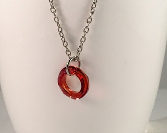 Red moonlight cosmic ring pendant, cosmic ring necklace, red moonlight necklace, swarovski crystal circle pendant, circle necklace