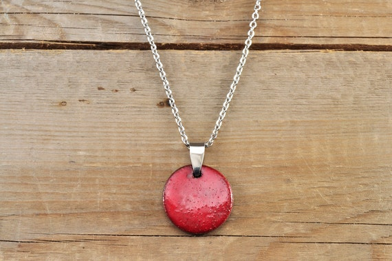 MEDIUM glossy red round stoneware pendant