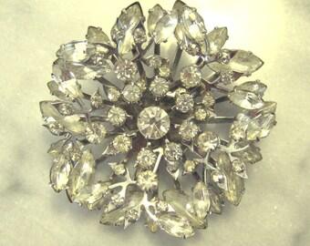 Vintage jewelry  vintage large statement brooch rhinestone snowflake brooch pin