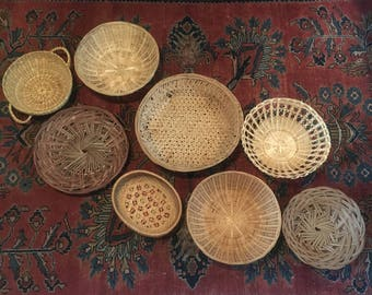 Vintage Wicker Basket Collection Set of 8 Wall Hanging Art Bohemian