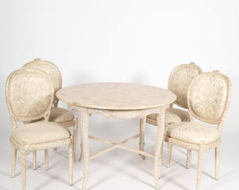 French Country Style Dining Set, Round Table & 4 Chairs, Marble Top