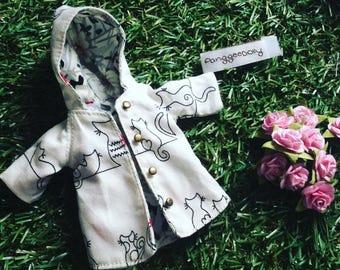 white cat hood coat for BJD doll size lati yellow doll