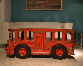 Vintage old school bus coffee table, Unique item(SAVE A TREE LINE)