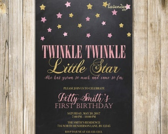 Chalkboard Twinkle TWINKLE LITTLE STAR Birthday Invitation, Pink Gold Stars Girl Birthday Invite, Girl 1st First Birthday Printable Digital
