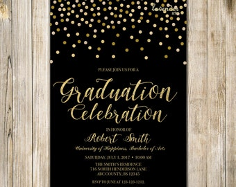 Black Gold GRADUATION CELEBRATION Invite, Glitter Graduation Party Invitation, High School College University Grad, Class of 2017 Grad Party