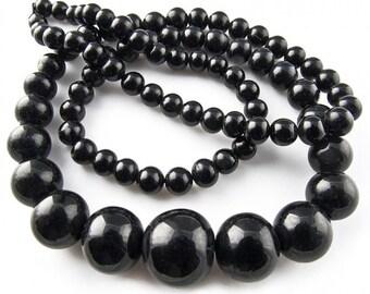 Vintage Japanese Superior Brand graduated jet glass beads 4.-12mm, 17 inch strand. b11-bw-1065(e)