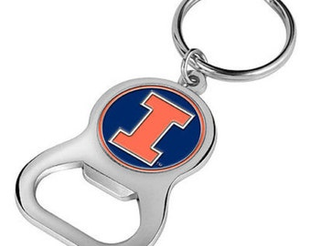 fighting illini chief bottle opener w magnetic cap catcher. Black Bedroom Furniture Sets. Home Design Ideas