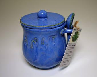 Pottery Handmade Salt Cellar - In glossy blue on white stoneware