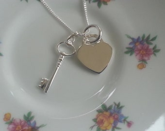Sterling Silver Key to My Heart Necklace Sterling Silver Key Heart Pendant