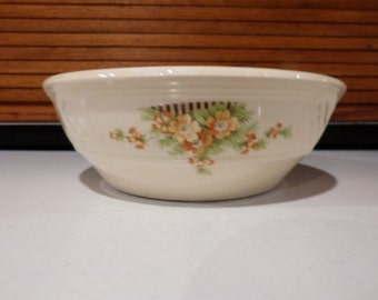 Vintage serving bowl with yellow flowers and lattice pattern