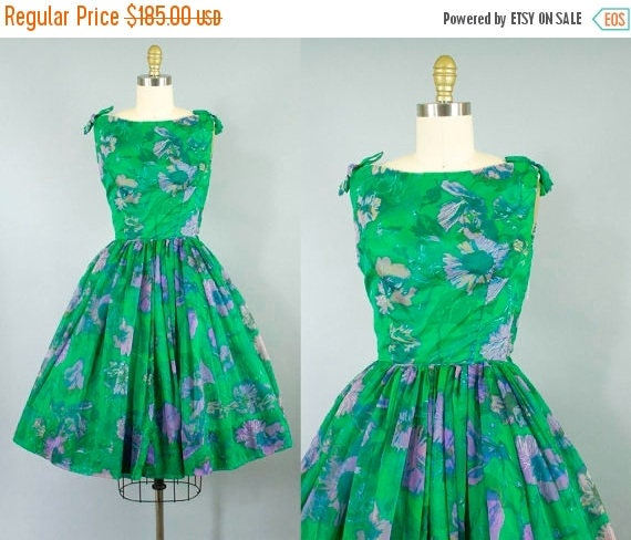 SALE 15% STOREWIDE 1950s chiffon party dress/ 50s green floral dress/ small