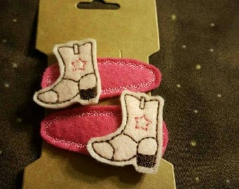 Pink Cowgurl Boot Hair Clips