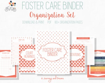 Foster Care Organization Binder . 80+ Pages! .  8.5x11 . PRINTABLE . DIGITAL DOWNLOAD . Coral Pink Series