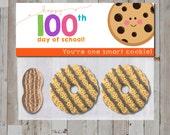 Instant Download - Cute Kawaii 100 Days of School Smart Cookie Sandwich Treat Bag Topper for kids/school/classroom/teacher - Printable