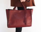 Burgundy leather tote, leather laptop bag, large shoulder bag, leather bag, leather tote, everyday carry, brown leather purse