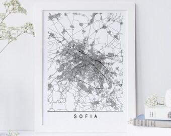 SOFIA MAP - Minimalist Sofia Art Print, Customizable City Map, High Quality Giclee Print, Modern Map Art